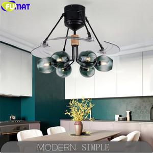 FUMAT Kristal Görünmez Ayarlanabilir Bıçak Fan Sarkıt Loft Ceing Lambalar Modo Bean Mavi Beyaz Gri Cam Topu LED Işık Shades