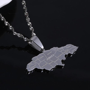 Stainless Steel Silver Color Jamaica Pendant Necklaces Fashion Jamaican Flag Map Chain Jewelry