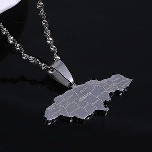 Edelstahl-Silber-Farbe Jamaika-Anhänger Halsketten arbeiten Jamaican Flag Map Kette Schmuck