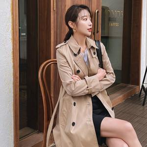 2020 Boutique d'automne Kaki Windbreaker Style English Style Femmes Trench-patte avec ceinture D080