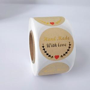 """Sello del oro etiquetas redondas etiquetas de 500 etiquetas pegatinas de álbum de recortes para la papelería paquete """"Gracias"""" pegatina AMOR"""