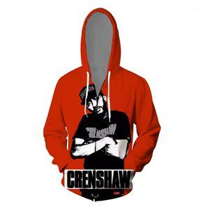 Rap 3D Hoodies Hommes Vêtements Cardigans Imprimé Fermeture eclaire Casual Adolescent Skateboard Souvenir Sweat Hiphop Nipsey Hussle