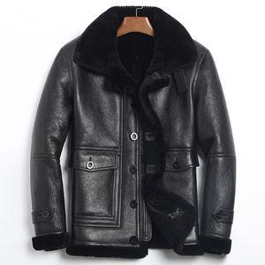 Véritable Veste en cuir pour hommes d'hiver Mouton Veste en peau de mouton Les vrais hommes Manteau en cuir pour hommes Vol Jacket185-1 KJ1078