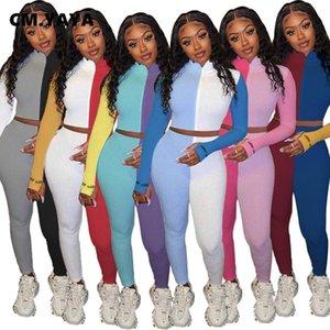 Femmes Tracksit Patchwork Tricoté chanceux Étiquette Femmes Set Top Zipper Leggings Pant Set Survêtement nervuré deux pièces Tenues Sweatsuit
