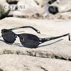 Gafas cuadradas Hombres Sun Gafas de sol UV400 Titanio Caponi Photocromic Eyewear Conducción Claro Vintage polarizado CH01 Puro BS1190 Frame QBujt