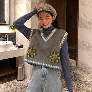 Sonbahar yeni Düğme vestCoat vestwomen giyim Kore tarzı V yaka dış giyim kısa knitte dibe yelek yarım yükseklikte yaka düğmesini örme