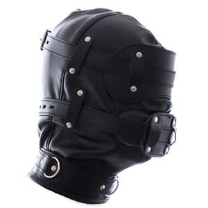 Jogos adultos Produtos sexo engraçado Soft Black Sexy Fetish Pu Leather restrições Chapelaria capa Máscara Slave Homens eróticos Brinquedos