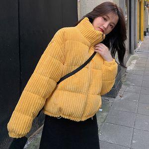 2020 Nova acolchoado Jacket Mulheres Brasão parka curta Outono Inverno Corduroy parkas pão aluna de cores doces casacos grossos 2020