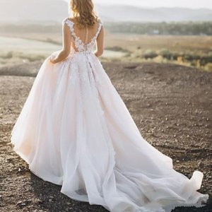 Modest Tulle A Line Wedding Dresses Plus Size Lace Applique Off Shoulder Sweep Train Wedding Dress Bridal Gowns robe de mariée