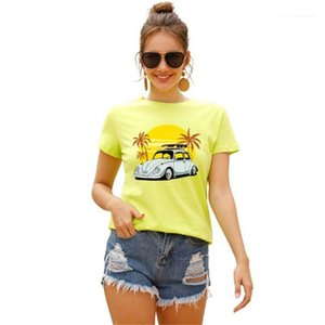 Womens Tshirts for Holiday Summer O-neck Printed Short Sleeve Femme Tops Casual Loose Breathable Ladies Tees