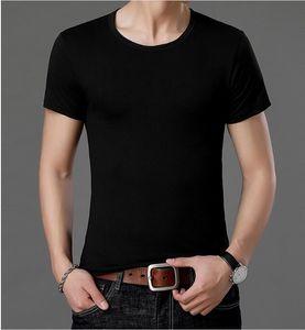T-shirt 2020 Tripulação Verão Neck manga curta OT dos homens Casual respirável em branco O pescoço sólido T Shirt Men Branco Preto