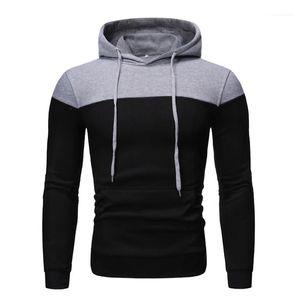 Man Sweatshirts Casual Slim Hip Hop Homme Clothes Winter Fleece Men Hoodies Patchwork Hooded Long Sleeve