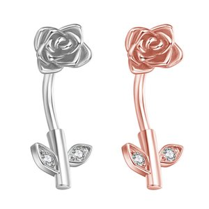 High Quality Fashion Sexy Cute Rose Flower Leaf Belly Button Ring Human Body Piercing Umbilical Nail