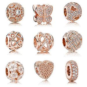 CHAMSS nuovo S925 Sterling Silver PDS in oro rosa intarsiato String farfalla Serie Fai da te braccialetto dei monili delle signore di modo semplice regalo