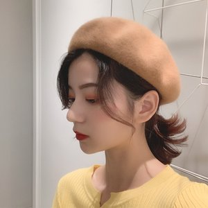 LUOYIYANG Bucket Hat Women Wild Pumpkin Woolen British Painter Literary Retro Bud Women's Caps Harajuku Autumn Winter Casquette
