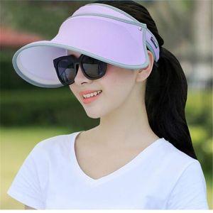 20pcs Women Sun Hat Wide Brim Anti-UV Female Sunscreen Shade Hat High Elastic Girl Summer Empty Top Visor Cap Fishing Casual Cap
