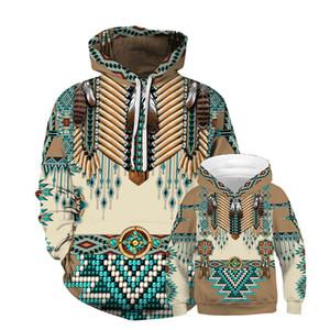 Européens et américains New Indian Feather numérique Wear Imprimé enfants Pull à capuche Casual vrac parent-enfant Porter