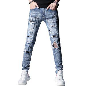 Улица Mens высокой моды Синий Slim Fit Разрушенные Разорванные Мужчины Сломанные Брюки Краска Стразы Алмазные Hip Hop Jeans