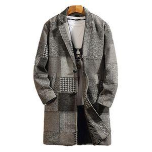 Winter Mens Wool бленда Тонкого Plaid Pattern Blazer шерстяного пальто мода нагрудных шеи мужчины Дизайнер Верхняя одежда