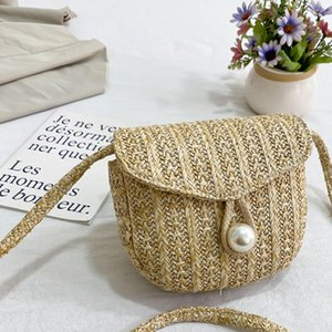 Woven Straw Bag Summer Holiday Beach Bag with Pearl Ladies Woven Bucket Straw Bag Hot Handbags Clutch for Women 2020