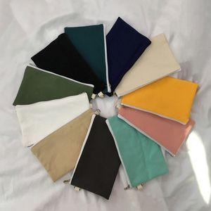 Simplicidad Cajas de lona en blanco Cremallera Cajas de lápiz Pluma Bolsas de algodón Bolsas de cosméticos Bolsas de maquillaje Bolsa de embrague de teléfono móvil 11 colores