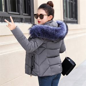 2019 Autumn Winter Jacket Women Parkas for Coat Fashion Female Down Jacket With a Hood Large Faux Fur Collar Coat