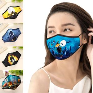Halloween printed adult face masks Hanging ear dust cotton adjustable masks filtration breathable designer masks OOA9097