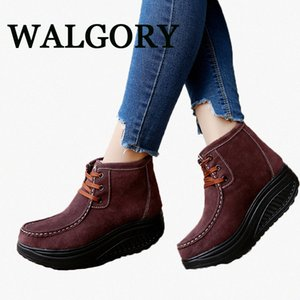 WALGORY Winter Female Plus Wedges Swing Shoes Snow Platform Boots Women Thermal Cotton Padded Shoes Flat Ankle Boots Cowboy Boots Chel UUJx#