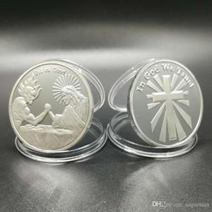 5 pcs lot the brand new evil vs god siler plated in trust god jesus cross religous theme souvenir coin