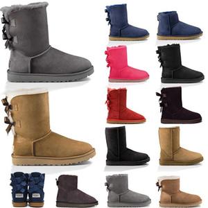 Ucuz In Stock kaliteli Noel hediyesi Yarım Çizme 11color Kış Kar Boots seksi WGG kar botları Kış sıcak Boot pamuk yastıklı ayakkabılar womens