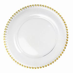 Carregador de vidro Placa de casamento Ouro Nórdico Bead banhado jantar prato Salada decorativa Fruit Jantar para o casamento decoração de mesa 21 centímetros