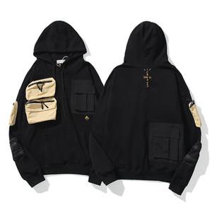 ترافيس سكوت صبار جاك التطريز هوديس الرجال النساء 1: 1 عالية الجودة هوديي جيوب متعددة مقنع T200917