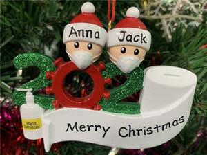 Más barato 2020 Cuarentena Navidad Ornamento Decoración DIY Nombre Familia de 7 PVC Decoraciones de Navidad Pandemic Social Distancia Caliente