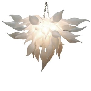 LED Hanging Chandelier Fancy Ceiling Flower Lamp Frosted White Murano Glass Chandelier Lighting Art Store Deco Kitchen Classic Home Light