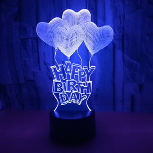 Colorful Touch Remote Control 3d lamp Happy Birthday Letters Small night lights Balloon 3D led lights christmas gift Table Lamp