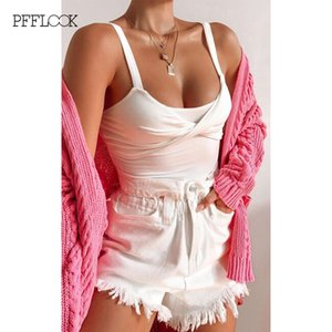 PFFLOOK Solid Sexy Bodysuit Spaghetti Strap Backless White Elegant Rompers Sleeveless Slim Female Jumpsuit Women Summer 2020