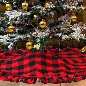 Skirt Xmas 48inch Home Layers Tree Double Red Christmas Christmas For Plaid Hotel For Tree Decor Buffalo Skirt bbygc sweet07