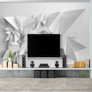 wallpapers modern custom modern simple 3d mural riangle high quality non-woven TV sofa background home decor for study room