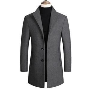 남성 울 블렌드 코트 트렌치 완두콩 코트 2020 봄 겨울 새로운 단색 높은 품질 남성 모직 자켓 고급스러운 브랜드 의류