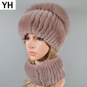 Las mujeres forman 2 Piezas Conjuntos de punto elástico real del sombrero de piel Rex bufanda casquillo de la piel Bufandas Chal naturales Rex Sombreros