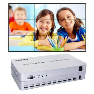 1080P RS232 3x3 Video Wall Controller HDMI Video Processor 9 canali di uscita HD 1x2 1x3 1x4 2x1 2x2 2x3 4x1 4x2 3x2 3x1 splicing