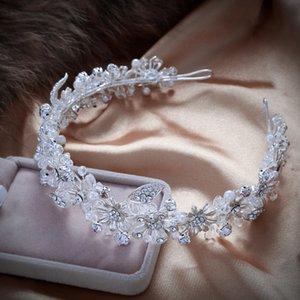 Handmade Sparkling Crystal Wedding Bride Flower Tiara Coroa Headband Bridal Women Prom Crowns Kopoha Bijoux Cheveux Accessories Y19051302