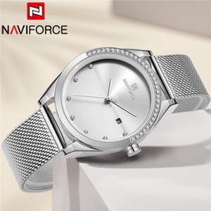 Clássico pulseira de aço inoxidável NAVIFORCE Women Watch Top prata pulso Ladies malha Moda Feminina Relógio 5015