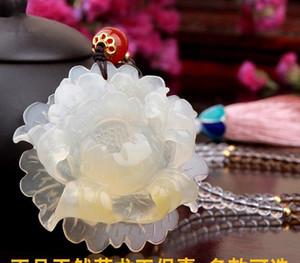 HXC doğal yeşim kolye kadın kazak zinciri Yunnan Longling Sarı Ejderha Jade Peony11