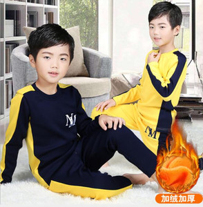 New Children's Wear Medium And Large Children's Thickened Thermal Underwear Set Winter Boys Color Matching Warm Plush Home Wear D