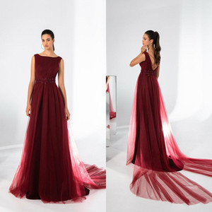 Elegant Tulle A Line Evening Dresses Appliqued Beaded Sweep Train Backless Mother of Bride Dress Formal Prom Party Gowns Robe De Soiree