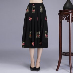 vSXB8 Women's HNahl size embroidered Long middle-aged National skirt skirt women's fashionable ethnic style mid-length large