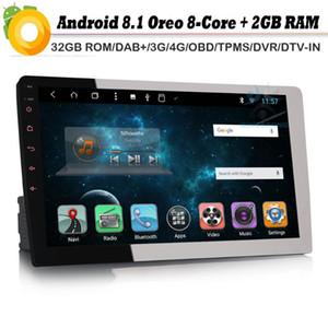 "8-core da 10,1"" DAB + 1 DIN Autoradio android 8.1 GPS NAVI Bluetooth 4G OBD DVB-T2 Radio AUX Car lettore RDS BT SD USB DVD DVR"