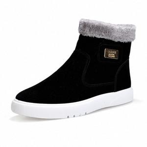 2019 Nouveau plat talon Hommes Bottes chaud Chaussures Homme à tête ronde solide Mode Hommes Couleur hiver Chaussures Casual Taille 39 44 Over The Cuissardes Co tLqZ #