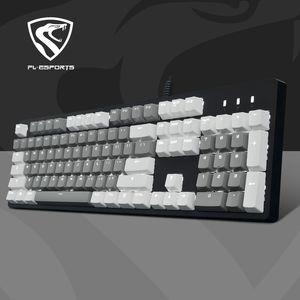 Fuling jogos de vídeo de luz e magia X1 impermeável mecânica cabo preto teclado USB eixo lavável substituível eixo PBT keycap